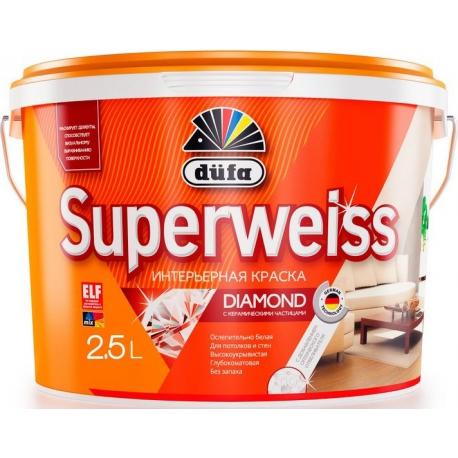 Краска акриловая ослепительно-белая Дюфа Супервайс / Dufa Superweiss RD4 10 л